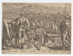 1550 - 80 -      Stradanus, 1523-1605 (artist)  -  Casulum oppidum.  One of a collection of 5 engraved plates by Heinrich Gol(t)s(iu)s and Philip Galle after Stradanus, of military scenes showing armies of Charles V and the Medici in campaigns against the Turks.  The artwork in this is highly stylized, I suspect the artist was trying to flatter the Emperor by comparing him to classical/Roman emperors.   Copyright - Anne S.K. Brown Military Collection at Brown University.