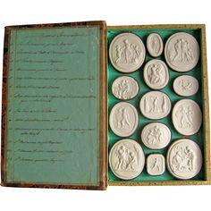 Grand Tour Plaster Intaglios c1820 Paoletti Impronte Opere Di Thorwaldson Antique Cameo Medallions