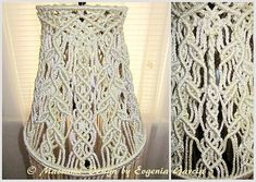 """Macrame lampshade for floor lamp - is unique handmade decor for your home. Handmade, original idea and design by Evgenia Garcia. Color: pearl (2 tones) Sizes: Width: buttom - 12"""" (30.5 cm), top -n7 (17.8 cm) Height from top ring to buttom ring – 11.5"""" (29 cm) Height from buttom ring to"""
