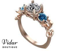 Flower Engagement Ring,Unique Engagement Ring,Rose Gold  1 Carat Diamond Engagement Ring,Leaves Floral Diamond Engagement Ring,3 Stone Ring