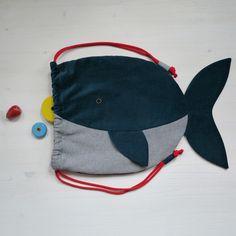 Zaini - Gym Bag / Backpack WHALE Organic Cotton - un prodotto unico di Tell-Me su DaWanda