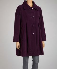 Look at this Coline USA Purple Flower Button-Up Coat - Women on #zulily today!