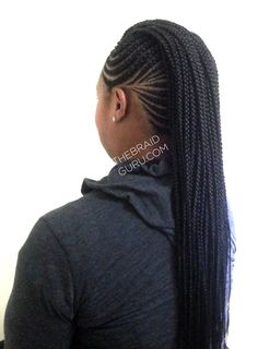 Feed-In Cornrows - Mohawk with Individuals - Left Back View - Braids by Thebraidguru.com