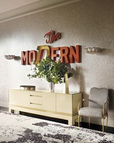mid century modern console and vintage sign