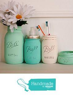 4 Piece Painted Distressed Mason Jars Bathroom Set -Mint Green, Sea Foam and Cream- Bathroom Organizer- from Pink Birdie Designs https://www.amazon.com/dp/B01GMW3O3E/ref=hnd_sw_r_pi_dp_cULLxbG3T15GW #handmadeatamazon