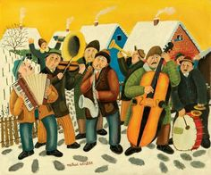 It's time to warm up with the band! Popular Orchestra by Mihai Vintila, size: 50cmX60cm. Naive Art Painting: Oil on canvas