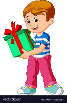 Little boy holding a gift box Royalty Free Vector Image Cartoon Pics, Cartoon Characters, Birthday Wishes For Kids, Speech Therapy Games, Graduation Pictures, Father And Son, Nursery Art, Cute Wallpapers, Little Boys