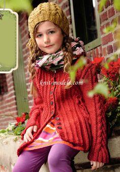 Вязание для девочек спицами. Кардиган