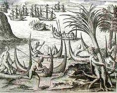 INFOAMÉRICA - La América de Théodore de Bry        LIBRO IX - 14/19                    Cuando el holandés Sebald de Weert y sus hombres remaban hacia una isla del Estrecho de Magallanes, fueron vigilados por siete barcos con gigantes desnudos de piel rojizo-castaño y pelo largo. Los holadeses dieron muerte a tres de aquellos gigantes y se alejaron del lugar. Prehistory, Moose Art, Drawings, Prints, Animals, Color, European Travel, 16th Century, Boats