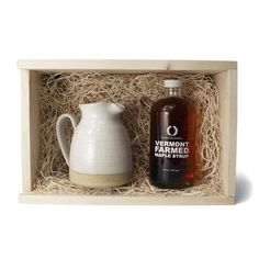 Farmhouse Pottery Vermont Maple Syrup & Small Bell Pitcher    A great gift idea!