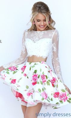 Sherri Hill Two Piece Long Sleeve Print Dress - SH-50464 - $450