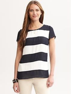 Striped back-zip top | Banana Republic
