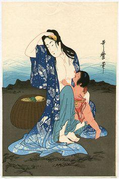 "Items similar to Japanese Ukiyoe, Woodblock print, antique, Utamaro, ""Abalone Divers (center)"" on Etsy Japanese Drawings, Japanese Prints, Woodblock Print, Art Geisha, Ancient Japanese Art, Japan Painting, Art Asiatique, Japan Art, Japanese Culture"