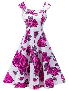 Retro Sleeveless Floral Print High Waist Dress - ROSE RED S