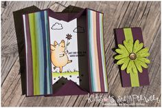 Box Card geöffnet mit dem Stempelset Glücksschweinchen + Gänseblümchengruß von Stampin' Up! in den aktuellen In Colors 2017 https://kidesos-stempelwelt.de/2017/06/30/freaky-friday-inspiration-box-card/