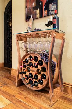 Wine Barrel Furniture - now this was clevel for small space wine storage Barrel Bar, Barrel Table, Wine Barrel Furniture, Decoration Bedroom, Wine Decor, Decoration Inspiration, Wine Storage, Home Projects, Diy Furniture