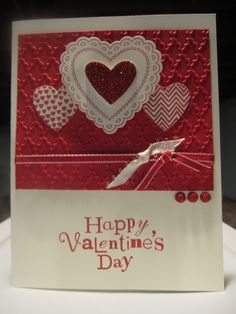 Stampin' Up Handmade Greeting Card: Happy Valentines Day.  Etsy.