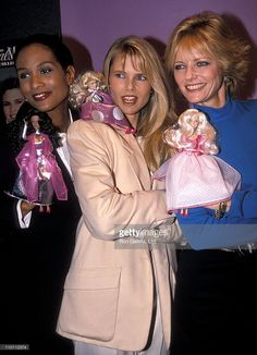 Model Beverly Johnson, model Cheryl Tiegs and model Christie Brinkley attend the Toy Fair 1990 - Matchbox Toys unveils their new line of dolls: The Real Model Collection on February 12, 1990 at the Jacob K. Javits Convention Center in New York City.