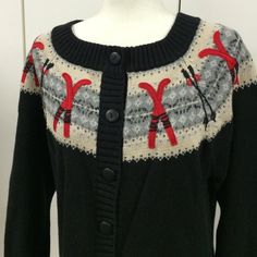 Coldwater Creek XL sweater 53% ramie & 47% cotton black button down  sweater by Coldwater Creek in size XL. It has beautiful sticking of old ski sticks and patches of red skis all around the sweater. Coldwater Creek Sweaters Cardigans