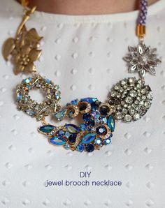 Vintage Statement DIY Necklace Tutorial | http://diyready.com/diy-necklaces-diy-jewelry/