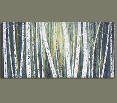 Abstract Birch Tree Painting  - Ghost Wood IV (18x36) Original Acrylic Wall Decor - Sage Mountain Studio. $289.00, via Etsy.