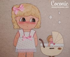 cuadro infantil niña carrito muñecas