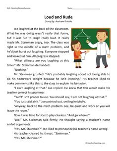 This Reading Comprehension Worksheet - Loud and Rude is for teaching reading comprehension. Use this reading comprehension story to teach reading comprehension. Reading Comprehension Worksheets, Reading Fluency, Reading Passages, Reading Strategies, Reading Activities, Reading Skills, Teaching Reading, Free Reading, English Stories For Kids