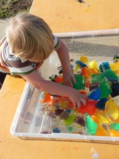 crushed colored ice sensory play