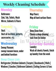 This has helped me so much! free printable weekly cleaning schedule - stay on top of the cleaning and chores!