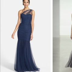 Amsale One shoulder Tulle Mermaid Gown Navy Blue This dress retails fo $360 at NORDSTROM.com.  It runs small. Price firm. Amsale Dresses Prom