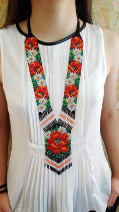Biżuteria kwiatowa koralik oświadczenie Necklac długie | Etsy