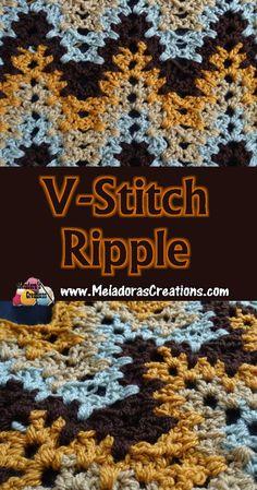 V Stitch Ripple Crochet Stitch - Free Crochet Pattern - Meladora's Creations Crochet Stitches Free, Stitch Crochet, V Stitch, Crochet Geek, Tunisian Crochet, Crochet Afghans, Crochet Blankets, Crochet Ripple, Crochet Squares