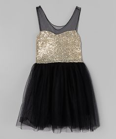 Love this Black & Gold Sparkle Dress - Infant, Toddler & Girls by Just Couture on #zulily! #zulilyfinds