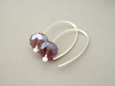 Acai Purple Czech Glass Sterling Silver Modern by TheSilverForge, $29.00