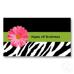 Trendy Black And White Zebra Print Pink Daisy Business Card Template