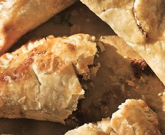 Beef Pasties - make smaller for a party.        Beef Pasties with Caramelized Onions and Stilton Cheese Recipe  at Epicurious.com
