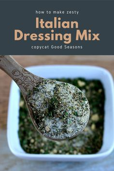 How to make zesty Italian dressing mix. This homemade zesty recipe dry can be used to make a salad dressing or used to marinate chicken. Make a copycat Good Seasons dry mix recipe. DIY zesty Italian dressing mix like DIY Good Seasons dressing. Use dried herbs and spices to make the mix now and make the dressing when you need it.  #italiandressing #mix #recipe Zesty Italian Dressing Mix Recipe, Healthy Cooking, Cooking Tips, Marinated Chicken, How To Make Diy, Drying Herbs, Salad Dressing, Natural Living, Food Preparation