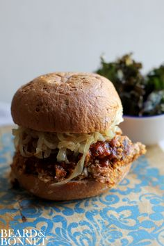 """Pulled"" Cauliflower BBQ Sandwich {Beard and Bonnet} Gluten free and vegan. Could make low fat by using fat free BBQ sauce, swapping corn meal for some almond flour! Cauliflower Recipes, Veggie Recipes, Whole Food Recipes, Vegetarian Recipes, Cooking Recipes, Healthy Recipes, Bbq Cauliflower, Vegetarian Sandwiches, Vegetarian Barbecue"