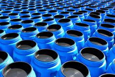 The blue plastic barrels for chemicals. The blue plastic barrels for storage of ,