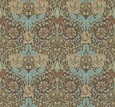 Honeysuckle and Tulip (214702) - Morris Wallpapers - From 1876, this early Morris design creates a trellis effect with large tulips and stylised honeysuckle. Shown here in the Taupe / Aqua colourway. Wide width wallpaper. Please request sample for true colour match.