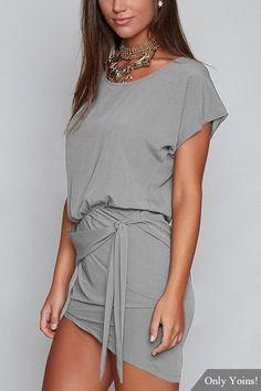 Grey Round Neck Self-tie Design Mini Dress