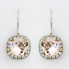 Haute Bride earrings at Perfect Details.  Vintage Rose crystal drop earrings lend a touch of colors for brides & are gorgeous for parties.