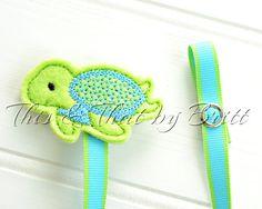Turtle Feltie-  Green Stripe Ribbon- Baby Pacifier Clip- Teething Ring Clip