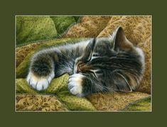 Ginger Cat ACEO Print Friendly Hug By I Garmashova
