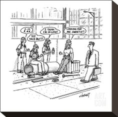 "size: Premium Giclee Print: Man walks by construction site where women construction workers call out t…"" - New Yorker Cartoon by Tom Cheney : Funny Cartoons, Funny Comics, Funny Jokes, Hilarious, Cartoon Jokes, Cartoon Art, Dentist Humor, Underground Bunker, New Yorker Cartoons"