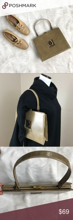 """Vintage 50's Tan Leather Handbag Purse Amazing piece! Tan leather handbag by Triangle New York. Zip pocket inside. Bronze clasp closure. Cameo in black gemstone(unknown material) set on art deco piece. 11"""" long x 2.5"""" wide x 8.5"""" tall. 14.5"""" handle. Great condition. Vintage Bags"""