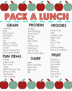 Packed Lunch Box Ideas (Free Printable). Print this list out & hang on the refrigerator for easy packing!
