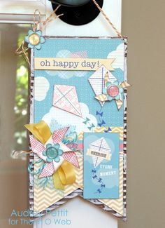 Oh Happy Day paper bunting decoration made with Therm O Web adhesives by Designer @Audrey Pettit