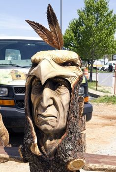 40 Exceptional Examples Of Tree Carving Art - Bored Art Chainsaw Wood Carving, Wood Carving Art, Wood Carvings, Driftwood Sculpture, Tree Sculpture, Lion Sculpture, Image Tatoo, Tree Carving, Wood Carving Patterns