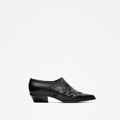 ZARA - WOMAN - FLAT LEATHER ANKLE BOOTS WITH OPEN-WORK DETAIL